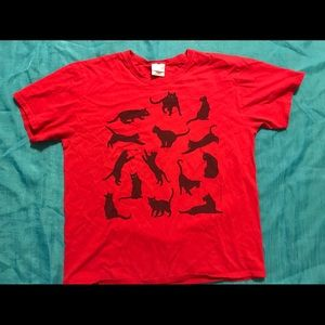 Vintage 2003 Cat Graphic Shirt Red Womens Large